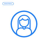 Vector illustration of flat line female icon. Graphic design concept of woman profile. Royalty Free Stock Images