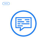 Vector illustration of flat Line icon. Graphic design concept of dialog. Use in Web Project and Applications. Blue outline isolated object Royalty Free Stock Photo