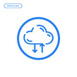 Vector illustration of flat Line icon. Graphic design concept of digital cloud storage. Royalty Free Stock Photography