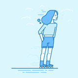 Vector illustration in flat linear style and blue colors. Happy girl roller skating Stock Image