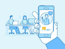 Vector illustration in flat linear style and blue colors - remote work concepts. Online conference with outsource creative team of people sitting in coworking vector illustration