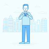 Vector illustration in flat linear style and blue colors - trave Stock Photo