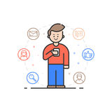 Vector illustration in flat linear style. Boy holding mobile phone with smile on his face. Stock Photos