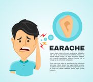Vector illustration flat man with a earache. Stock Photography