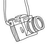 Hand drawn Vector illustration of camera. Vector illustration, Flat and minimal vector eps file With Copy Space Flat Vector Illustration Stock Photos