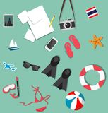 Summer beach holiday accessories collage set Stock Photos