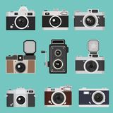 Set of camera vintage Flat design. Vector illustration, Flat and minimal vector eps file With Copy Space Stock Image