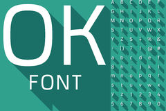 Vector illustration of flat modern long shadow alphabet. Compact  style letters with long shadows on green background Stock Photo