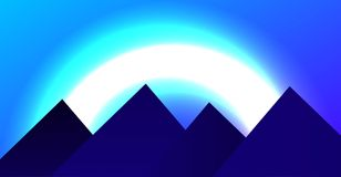 Vector illustration. Flat mountains. Mission and achievement. Nature and travel. Space landscape on an unknown planet in the night. Vector illustration. Flat Royalty Free Stock Image