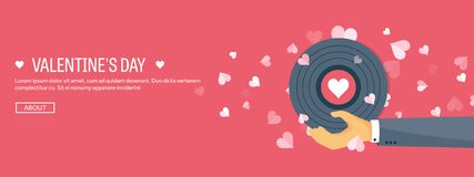 Vector illustration. Flat musical background with vinyl. Love and hearts. Valentines day. Be my valentine. 14 february. Vector illustration. Flat musical stock illustration