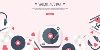 Vector illustration. Flat musical background with vinyl. Love and hearts. Valentines day. Be my valentine. 14 february. Vector illustration. Flat musical royalty free illustration