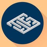 Vector illustration. flat round icon, maze, isometric. Stock Images