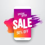 Vector illustration flat smartphone sales banner, special online offer or discount flyer, sale up to 50% off. With cool ink brush. Vector illustration cool flat vector illustration