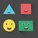 Vector Illustration Of Flat Smiling Shapes Stock Photography