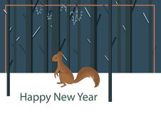 Vector illustration with flat squirrel character stock illustration