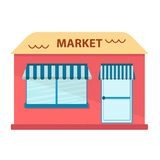 Vector illustration with flat store building Stock Photos