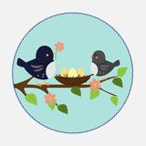 Vector illustration in flat style. Branch nest and birds stock illustration