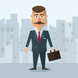 Vector illustration of a flat in the style  businesman with  mustache in  gray suit strict business in an urban environm Royalty Free Stock Photography