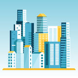 Vector illustration in  flat style - city landscape Royalty Free Stock Photo