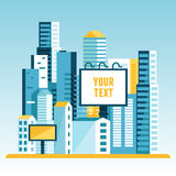 Vector illustration in  flat style - city landscape Royalty Free Stock Image
