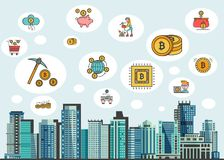 Vector illustration in flat style with crypto currency icons in sky - bitcoin, golden coins, mining pickaxe, crypto. Wallet and digital account symbol with stock illustration