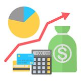 Vector illustration in flat style. Finance growing concept. Royalty Free Stock Photos