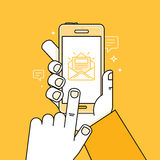 Vector illustration in flat style - hand with mobile phone Stock Photo