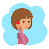 Vector illustration in flat style. Icon girl with phone in hands. Stock Image