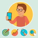 Vector illustration in flat style - manager Stock Photo