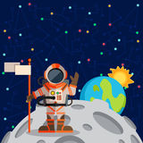 Vector illustration in flat style about outer space. Planets in the univers. Greeting card Royalty Free Stock Photography