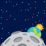 Vector illustration in flat style about outer space. Planets in the univers. Greeting card Royalty Free Stock Photo
