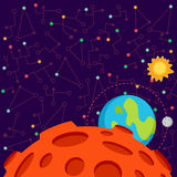 Vector illustration in flat style about outer space. Royalty Free Stock Photos