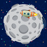 Vector illustration in flat style about outer space. Planets in the univers. Greeting card Royalty Free Stock Photos