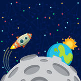 Vector illustration in flat style about outer space. Planets in the univers. Greeting card Royalty Free Stock Images