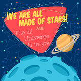 Vector illustration in flat style about outer space. Planets in the univers. Greeting card Stock Image