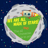 Vector illustration in flat style about outer space. Stock Photography