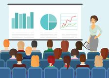 Vector illustration in flat style of people sitting and watching presentation on screen. Vector illustration in flat style of people sitting and watching royalty free illustration