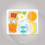 Vector illustration of school lunch. Flat style.  Stock Photos