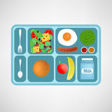 Vector illustration. Flat style. School lunch. Healthy food for students. Royalty Free Stock Image