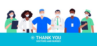 Thank you Doctors and Nurses concept with different healthcare workers.