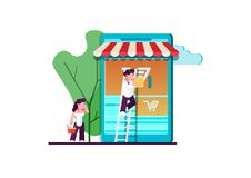 Vector illustration, flat style, various shops, discounts, purchase of goods and gifts, real estate investment, shopping concept. And delivery of goods through royalty free stock image