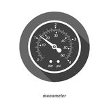 Vector illustration of flat styled manometer with drop shadow. Royalty Free Stock Images