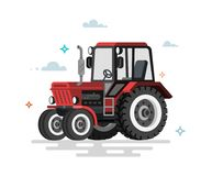 Vector illustration of flat tractor vector illustration