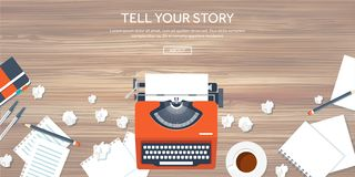 Vector illustration with flat typewrite. Tell your story. Author. Blogging. Vector illustration with flat typewrite. Tell your story. Author. Blogging vector illustration