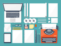 Vector illustration. Flat typewriter.Laptop. Tell your story. Author. Blogging. Stock Photography