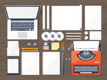 Vector illustration. Flat typewriter.Laptop. Tell your story. Author. Blogging. Royalty Free Stock Photography