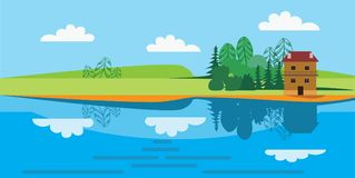 Flat vector illustration of landscape drawing of a small house on the river bank Royalty Free Stock Photos