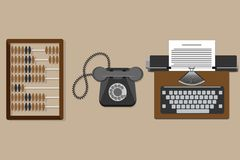 Vector illustration of flat vintage typewriter, old wooden abacus, old phone. Isolated on background. Vector icon vector illustration