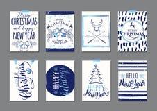 Vector Illustration Fliegerschablone der frohen Weihnachten und des guten Rutsch ins Neue Jahr blaue der Typografie Stockfotografie