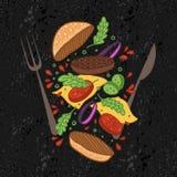 Vector illustration. Flipping burger. Cartoon flat style. Food levitation. American Cuisine royalty free illustration